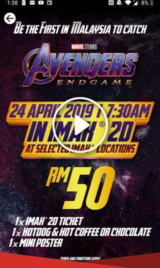 2x Imax 2d ticket avengers endgame 24th April 7.30 am