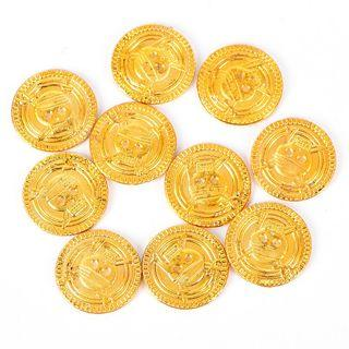 【WholeSale 100pcs/sets】 Plastic Pirate Gold Play Coins Birthday Party Favors Treasure Co