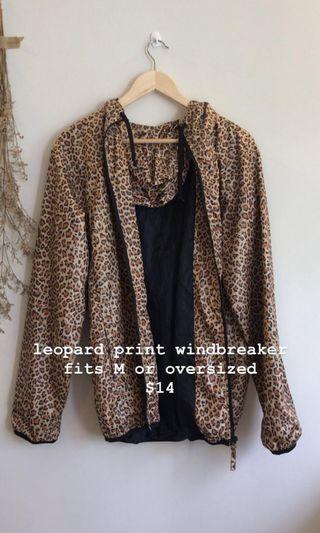leopard print windbreaker jacket