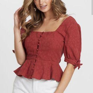 Red maroon peplum square neck top - TUSSAH