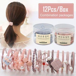 12 Pieces Korea Simple Hair Band / Rubber Band / Hair Tie / Women Girls Elastic Rubber Hair Ties Accessories