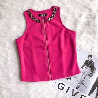 Jewelled Pink Sleeveless Top