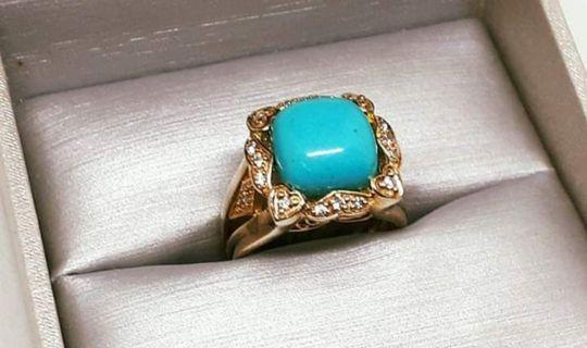 Sterling Silver Vermeil Ring with Turquoise and CZ Stones - Size 6