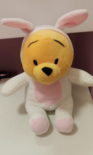 小熊維尼Winnie the pooh 25cm韓國版扮兔仔公仔景品