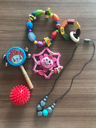 Different teethes, toys , massage ball, tether necklace
