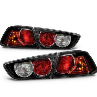 2008 TO 2015 MITSUBISHI LANCER EVOLUTION X, EX LANCER ONYX BLACK TAIL LIGHTS - WIRES AND  LIGHT BULBS NOT INCLUDED .. BOLT ON AND REUSE YOUR  OLD WIRE AND BULBS...THE TAIL LIGHT ARE MADE WHEN ORDERED FROM FACTORY,..INSTALLATION INCLUDED..