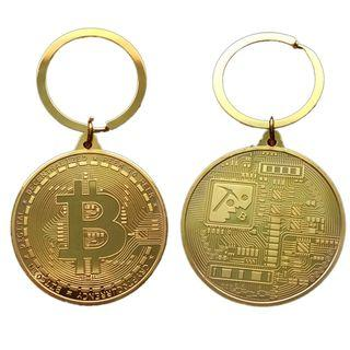 【WholeSale 10pcs/sets】Gold Plated Bitcoin Coin Key Chain BTC Coin Art Collection #EndgameYourExcess