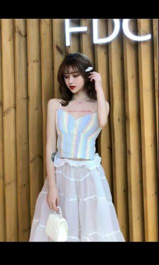 PO 59 Candy Colour Pastel Stripe Pattern Colourful V Neck Low Cut Strap Crop Top Shirt with Cake Layered Long Skirt 2Piece Set Ulzzang