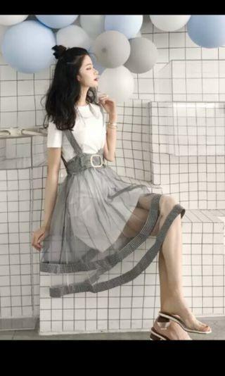 PO 60 Checkered Square Pattern Mesh Romper Strap Dress with Belt & Backzip & White T-Shirt Inner Dress 2 Piece Set Ulzzang