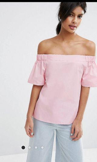 Asos Pink Off Shoulder Top