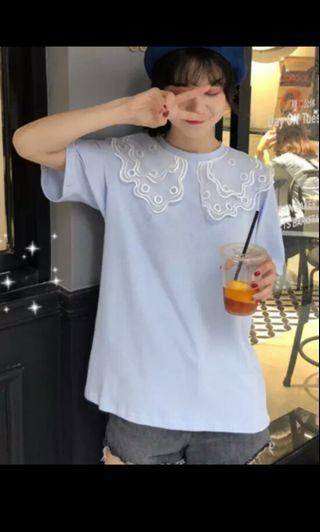 PO 62 White Mesh Dotted Pattern Ruffle Doll Collar Short Sleeve T-Shirt Top Summer Oversized Ulzzang 2 Colours blue/ green