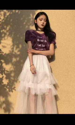 PO 64 The Best Is Yet To Come Wording Shiny Glitter Short Sleeve Top T-Shirt with Mesh Ruffle Layered Long Skirt 2 Piece Set Ulzzang