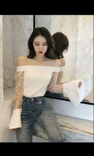 PO 65 Mesh Polka Dot Pattern Print Long Flare Sleeve Knit Crop Top Knitted T-Shirt Summer Ulzzang 2 Colours white / black