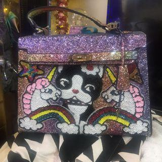 Bedazzled Korean Hermes styled Kelly Bag with Pug and Unicorn