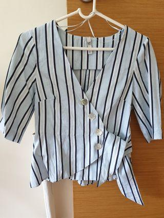 Zara striped wrap around top