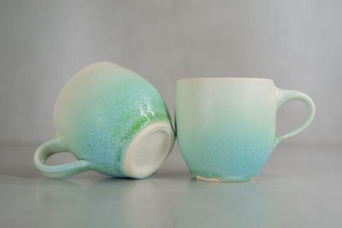 日本陶器🇯🇵 漸變冰綠手工杯