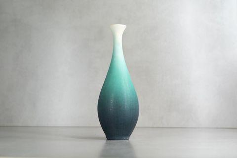 日本陶器🇯🇵 漸變冰綠手工花瓶