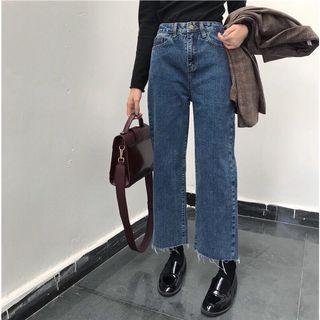 🐾 Dark Denim High Waisted Boyfriend Jeans