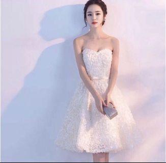 小禮服 短禮服 氣質禮服 香檳色 派對洋裝  晚宴服 伴娘服