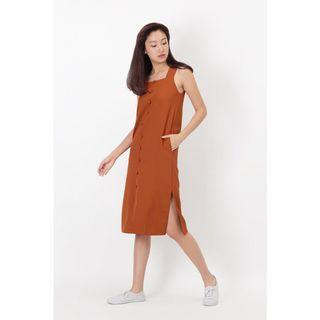 Arcade DELILAH BUTTON MIDI DRESS IN RUST