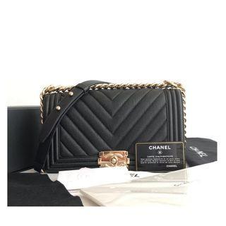 Authentic Chanel Boy Black Ghw Bag