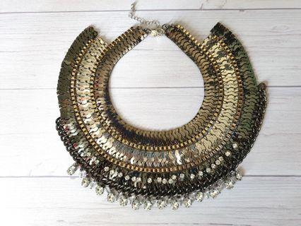 Cleopatra Metal Collar Choker Statement Necklace