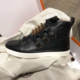 Hermes Black Leather Sneakers (Size: 37)