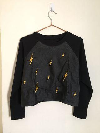 Black crop top - embroidered faux leather