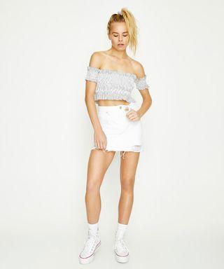 Neuw Darcy Denim Skirt in White Blanc - Size 27 RRP $100
