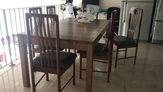 🚚 Dining Table Set for 6-10, including 6 leather chairs