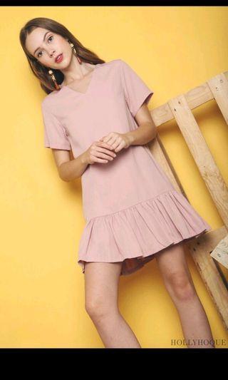 Hollyhoque eve Dropwaist dusty pink dress