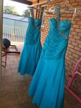 Turquoise Blue Taffeta Bridesmaid Formal Wedding Dress