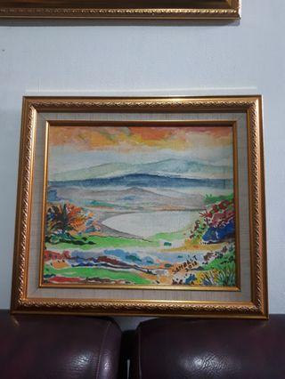 Lukisan Danau Cat air