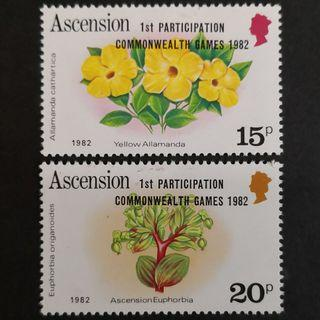 "Ascension 1982. Commonwealth Games, Brisbane - Issues of 1981 Overprinted ""1st PARTICIPATION COMMON-WEALTH GAMES - 1982"" complete stamp set"