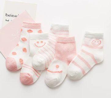 粉色笑臉款兒童春夏薄款短襪5對