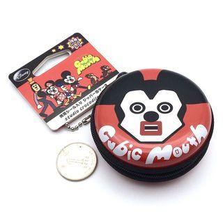 (全新) 購自日本 原裝正品 Disney Mickey Cubic Mouth 醜版米奇 圓形收納包 金屬耳機包