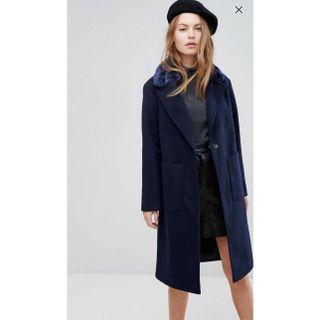 New Look Faux Fur Collar Tailored Coat