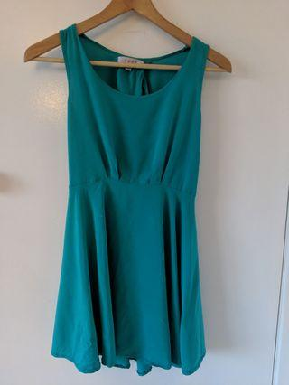 TEMT Teal Flowy Backslit Dress XS/S
