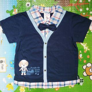 全新台製男寶假兩件上衣4號(80-85cm)