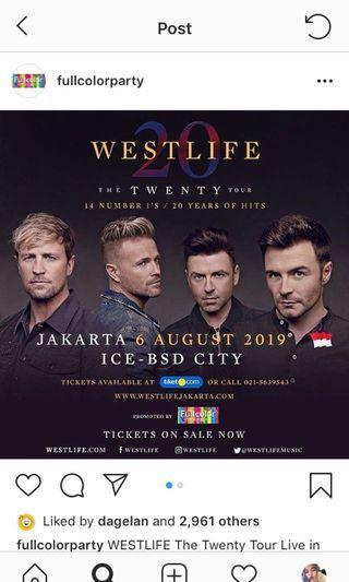 Tiket Westlife Jakarta 6 Agustus 2019 Gold