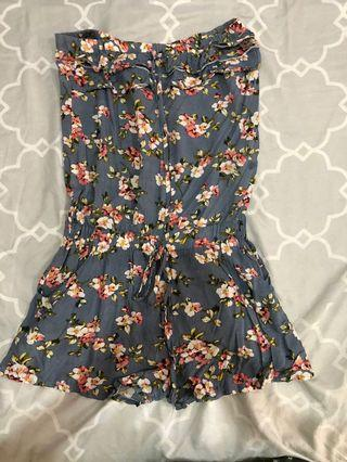 Blue flowery tube one piece