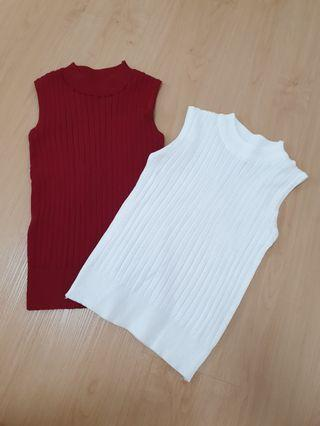 Basic Knit Ribbed Sleevless Top Emerald/Wine/White #ENDGAMEyourEXCESS