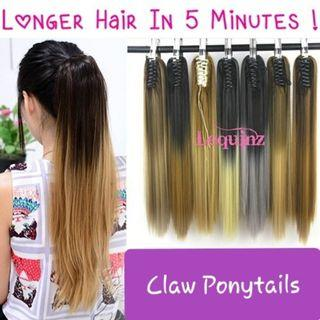 Claw Clip Ponytail Ombre Straight Long Hair Extensions