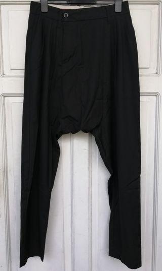 K-2 Black Drop Crotch Trousers