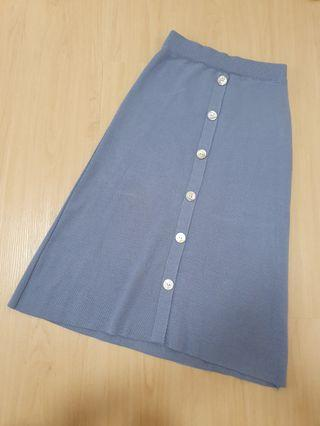 Blue Fake Button Down Skirt With Elastic Band #ENDGAMEyourEXCESS