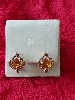 Diamond design  citrine earrings