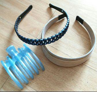 Preloved Blue and Cream Headband (Free 1 Blue Hair Clip)