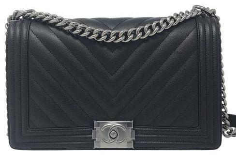 Chanel Le Boy  New Medium Chevron Black Caviar Shoulder Bag
