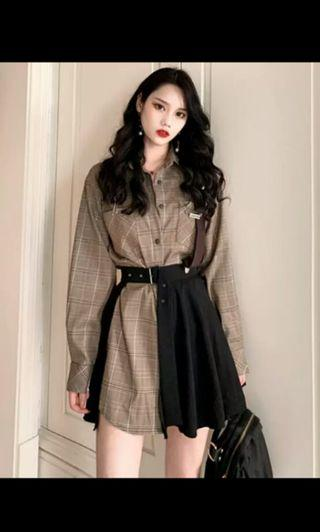 PO 70 1 Side Buckle Strap Checkered Square Grid Pattern Long Sleeve Collar Shirt Top with Duo Tone Brown/Black Adjustable Belt Pleated Skirt 2 Piece Set Ulzzang