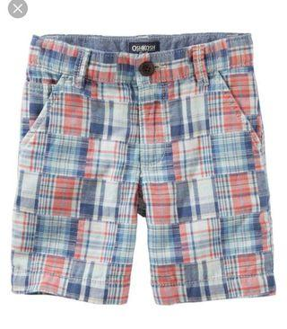 BN Oshkosh Bgosh Baby Boy Madras Flat Shorts Bermudas 18mths and 24mths avail!